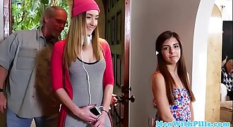 Real teen babes doggystyled by horny senior