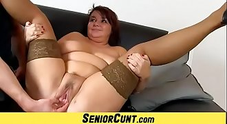 Aged fat cunt spreading in insatiable details feat. Eva