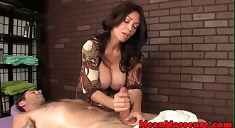 Cum controling mature jerking clients hard-on