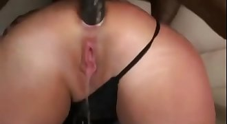 Big ass white MILF Squirts while a BBC pounds her ass and her husband records it