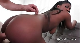 Ebony gf plays with huge pink dildo
